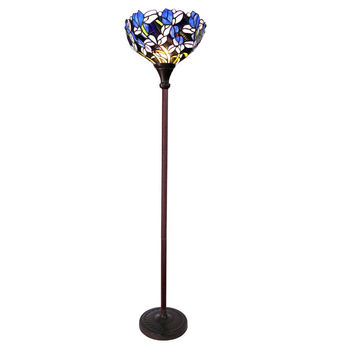 "Natalie, Tiffany-Style 1 Light Iris Torchiere Floor Lamp 14.5"" Shade"