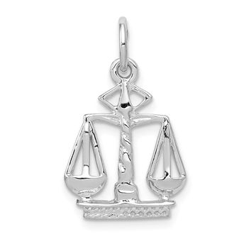 14K White Gold Polished Flat-Backed Small Scales of Justice Charm