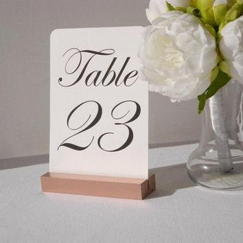 Rose Gold Table Number Holders, Rose Gold Wedding Table Card Holders- 5 inch (Set of 10)