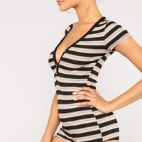 Campfire Stripe Romper - Black/Multi