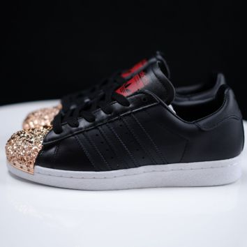 Adidas Trending Casual Shamrock SUPERSTAR metal shell head shining shoes Black+Golden toe cap Black G