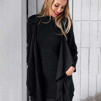 Black Waist Belt Long Sleeve Coat