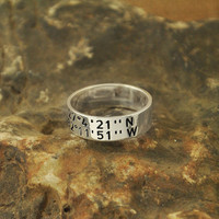 Gift for Grandmother latitude longitude ring for your personalized coordinates ring 925 sterling silver ring valentine's gift