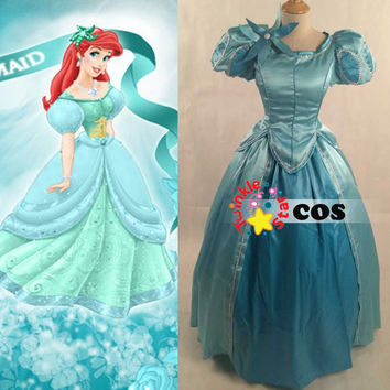 halloween costumes for women adult princess dress the little mermaid princess Ariel cosplay costume custom made