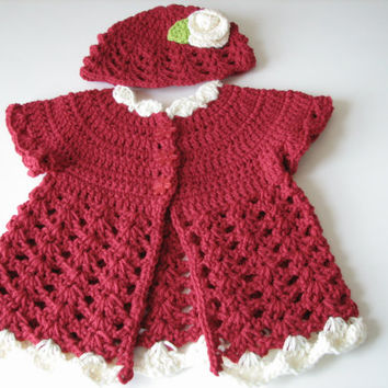 Crochet gift set for baby, Baby girl crochet cardigan and hat - 6- 12 months