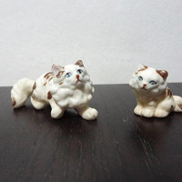 Vintage Miniature Porcelain Long-Haired Cat and Kitten Figurines - Mother Cat and Baby Kitten