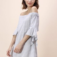 Leisure Stripe Off-shoulder Dress With Frilling Sleeves