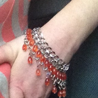 Chain and coral bead drop bracelet / anklet - gypsy boho hippie belly dance style jewelry