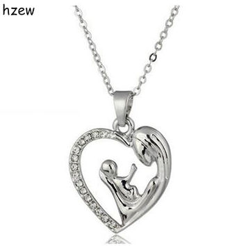 hzew Fashion Mother's Day Gift Mother Daughter Mom Baby Child Family Love Rhinestone Heart-shaped Pendant Necklace For Mom