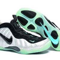 DCCKL8A Jacklish Girls Nike Air Foamposite Pro Metallic Silver/black-aqua Sale