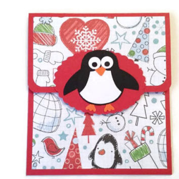 On Sale Penguin Christmas Gift Card Holder, Penguin Gift Card Holder, Money Holder