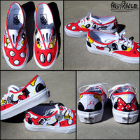 Mickey Loves Minnie Hand Painted Vans Shoes for Girls