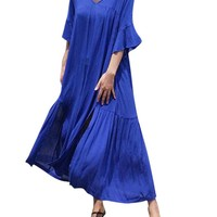 Casual Loose Split Half Sleeve V-neck Maxi Dress For Women