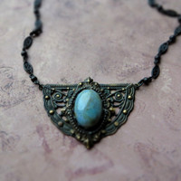 Bohemian vintage patina agate necklace / victorian oriental look / dark oxidized pendant / earthy tone agate, oxidized brass