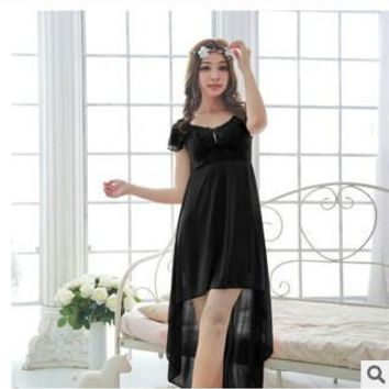 Free shipping women black lace sexy nightdress girls plus size long Sleepwear nightgown M1810-4