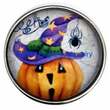 Halloween Pumpkin Spider 20mm Snap for Snap Charm Jewelry