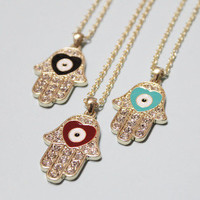 SALE: Gold Hamsa Hand, Evil Eye Necklace / 3 Colors / Bridesmaid Jewelry, Friendship Graduation Gift / Trends Accessories