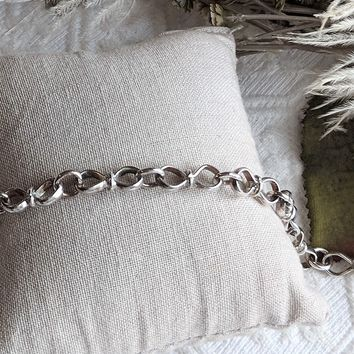 Artisan Crafted Sterling Silver Unique Unisex Link Bracelet Size 7 3/4