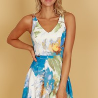 Watercolor Floral Print Dress Blue