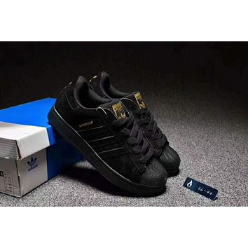 """""""Adidas"""" Superstar Casual Running Sport Shoes Sneakers Black I-CSXY"""