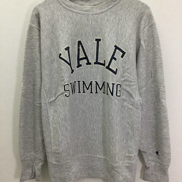 Vintage CHAMPION Reverse Weave Yale Swimming Sweater Sz Large Made in USA
