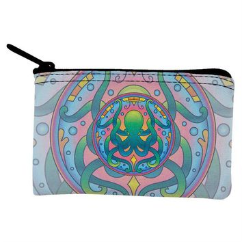DCCKJY1 Mandala Trippy Stained Glass Octopus Coin Purse