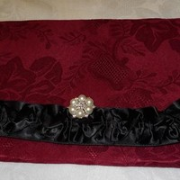Burgundy Damask Fabric Clutch Bag etched in black Satin Ruffle Trim and a Rhinestone Pearl button on Handmade Artists' Shop