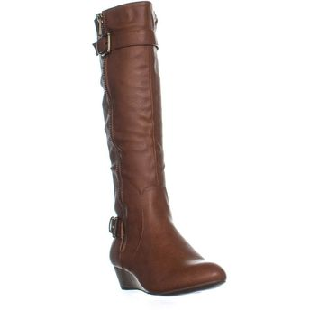 Rampage Sadler Wedge Knee-High Boots, Cognac, 8 US