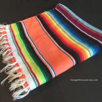 Vintage Rainbow Mexican Table Runner / Sarape