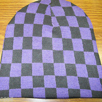 Purple and Black Checker Checkered Winter Knitted Skull Beanie Ski Cap-New!