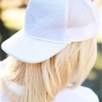 Lauren James Seersucker Snapback Hat in Blue