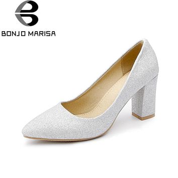 BONJOMARISA Women's Glitter Cloth Upper High Heel Party Wedding Shoes Woman Pointed Toe Less Pumps Big Size 31-48