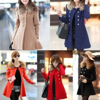 Fashion Women Lady Fur Collar Peacoat Paka Trench Coat OL Coat Winter Overcoat Long Skinny Jacket Outwears Candy Color = 1956206020