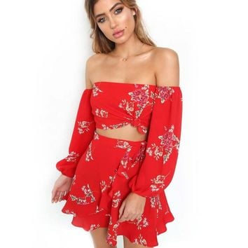 Women Red Two Pieces Set BOHO Floral Print Off  Dress