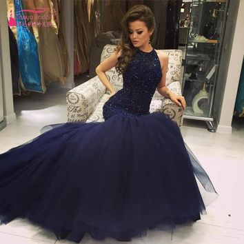 2017 Navy Major Beading Elegant Mermaid Prom Dresses Vestidos De Fiesta Halter Neck Keyhole Back Fitted Evening Party Gowns