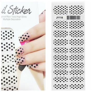X.T XT Nail Polish Strips Black Polka Dots Waterproof Non-toxic Nail Sticker  nail  Art Sticker 1 Sheet/20pcs