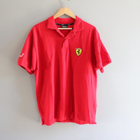 US Free Shipping Ferrari Red Polo Shirt Racer Sport Race Car Vintage 90s Minimialist Size L #T120A
