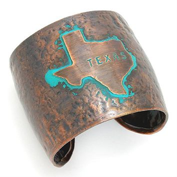 Texas State Hammered Copper Tone Wide Metal Cuff Bracelet.