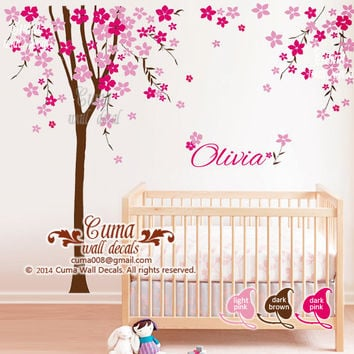 Nursery wall decal cherry blossom tree with baby name decal office wall decals nursery wall decal- Z209 by cuma