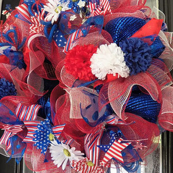 Deluxe Patriotic, July 4th Deco Mesh Wreath Ready to ship