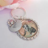 English Bulldog Keychain With Hand Stamped Initial And Paw Charm Made To Order