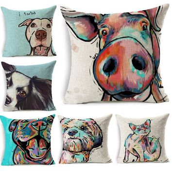 Cushion Cover Funny Pig Dog Cat Color Painting Cushion Case Linen Throw Pillows Car Sofa Cover Decorative Pillowcase decorativos