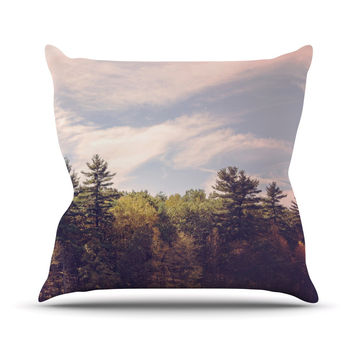 "Jillian Audrey ""Walden Woods"" Green White Outdoor Throw Pillow"