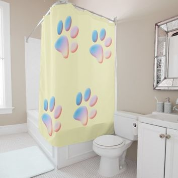 Blue Pink and Yellow Gradient Paws Shower Curtain