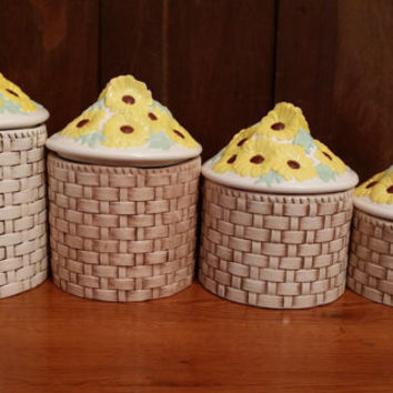 Vintage Ceramic Daisy Canister Great Retro Kitchen Decor Buy One or Get The Whole Set