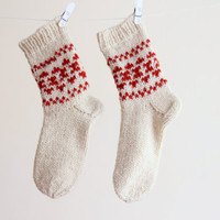 Knit wool short socks for women, white red, READY TO SHIP