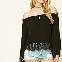 Lace Trim Off-The-Shoulder Top