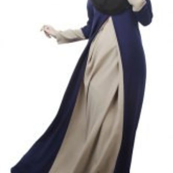 Ethnic Style Women's Jewel Neck Long Sleeves Patchwork Color Block Maxi Dress