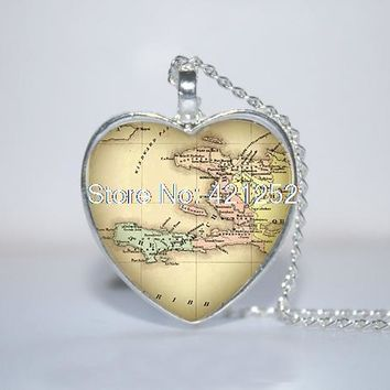 Vintage Haiti Map Pendant Glass Photo Cabochon