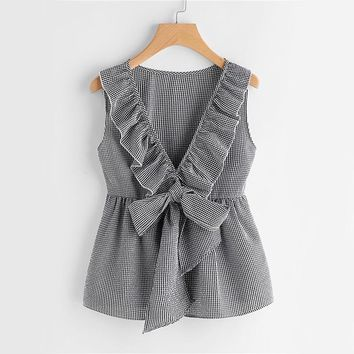 Plaid Cute Bow Front Blouse Deep V Neck Shell Tops  Women Ruffle Sleeveless Summer Tops Ladies Peplum Tunic Blouse